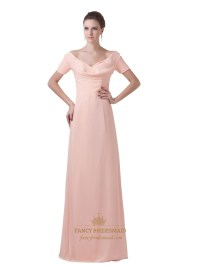 Peach Chiffon Sheath V Neck Bridesmaid Dresses With Short ...