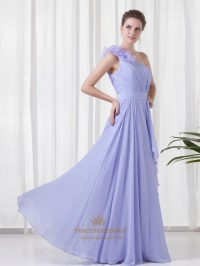 Lavender One Shoulder Flower Strap Bridesmaid Dresses With