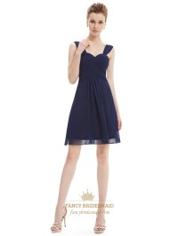 Navy Blue Chiffon Ruched Bodice Short Bridesmaid Dress ...