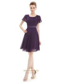 Grape A Line Scoop Neck Chiffon Short Bridesmaid Dresses ...