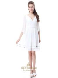 White Chiffon V-Neck Knee-Length Bridesmaid Dresses With ...
