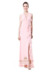Pink Chiffon Halter Neck Side Split Bridesmaid Dresses