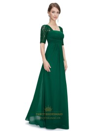 Emerald Green Empire Waist Chiffon Bridesmaid Dresses With ...