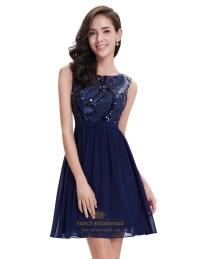 Navy Blue Chiffon Sleeveless Short Cocktail Dress With ...