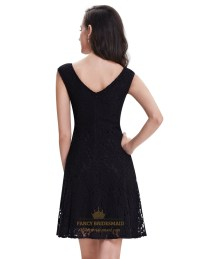 Elegant Black Lace Short Semi Formal Dresses With Cap ...