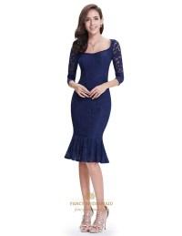 Navy Blue Mermaid Tea Length Lace Prom Dresses Illusion 3 ...
