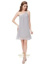 Grey One Shoulder Short Chiffon Bridesmaid Dresses With ...