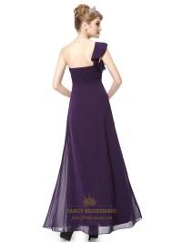 Purple Chiffon One Shoulder Bridesmaid Dresses With ...