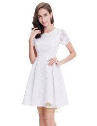 Elegant White Short Semi Formal Dresses With Short Sleeves ...