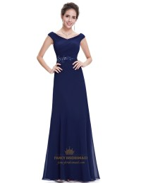 Navy Blue Chiffon Long Bridesmaid Dresses With Beaded Lace ...