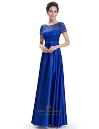 Royal Blue Short Sleeve Long Bridesmaid Dresses With Lace ...