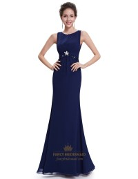Navy Blue Mermaid Chiffon Prom Dresses With Lace Applique ...