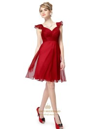 Red Chiffon Knee Length Bridesmaid Dresses With Flutter ...