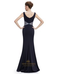 Black Mermaid Sleeveless V Neck Long Prom Dress With ...