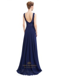 Navy Blue Open Back Chiffon Prom Dress With Lace Cut-Out ...