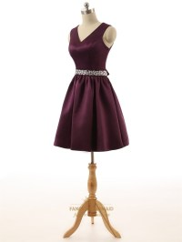 Short Burgundy Satin V-Neck Keyhole Back Bridesmaid Dress ...