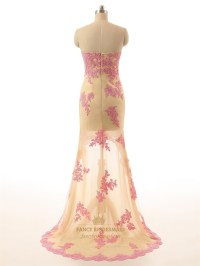 Champagne Strapless High Low Lace Floral Applique Prom ...