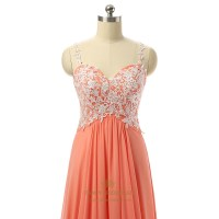 Embroidered Bodice Chiffon Spaghetti Strap Sweetheart Long ...