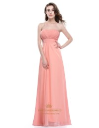 Soft Peach Strapless A Line Empire Long Prom Dress With ...