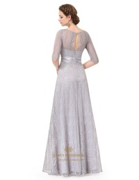 Silver Lace Embellished Half Sleeves Prom Dress With ...