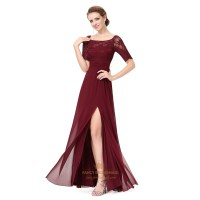 Burgundy Chiffon Lace Bodice Short Sleeves Bridesmaid ...