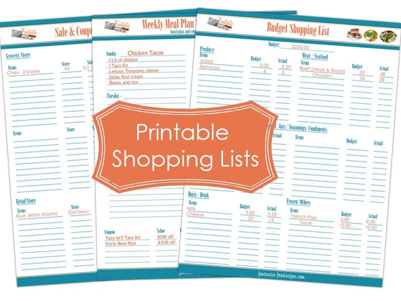 Printable Shopping Lists Make Shopping Easier - Fantastic-Food Recipes - printable shopping list