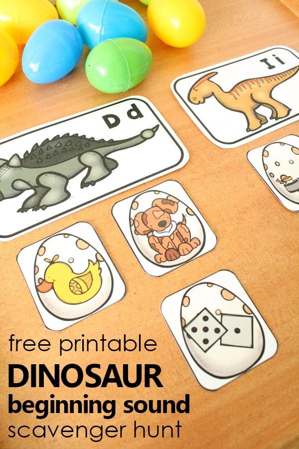 Dinosaur Beginning Sound Scavenger Hunt - Fantastic Fun  Learning
