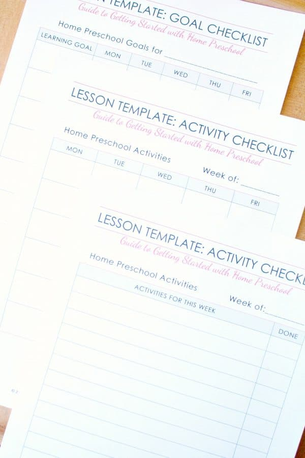 Home Preschool Lesson Plan Template - Fantastic Fun  Learning - Preschool Lesson Plan