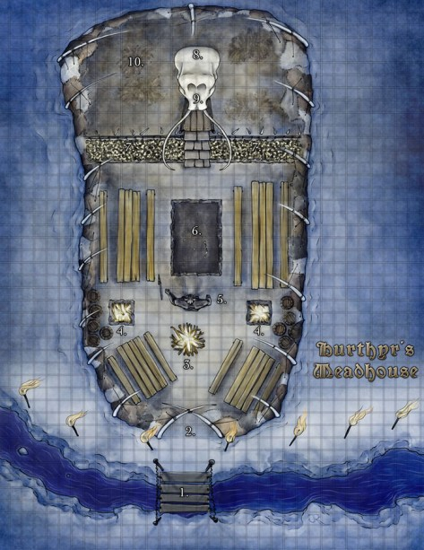 Giants' Meadhall fantasy dungeon map
