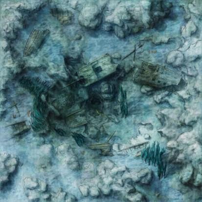Fantasy undersea shipwreck map