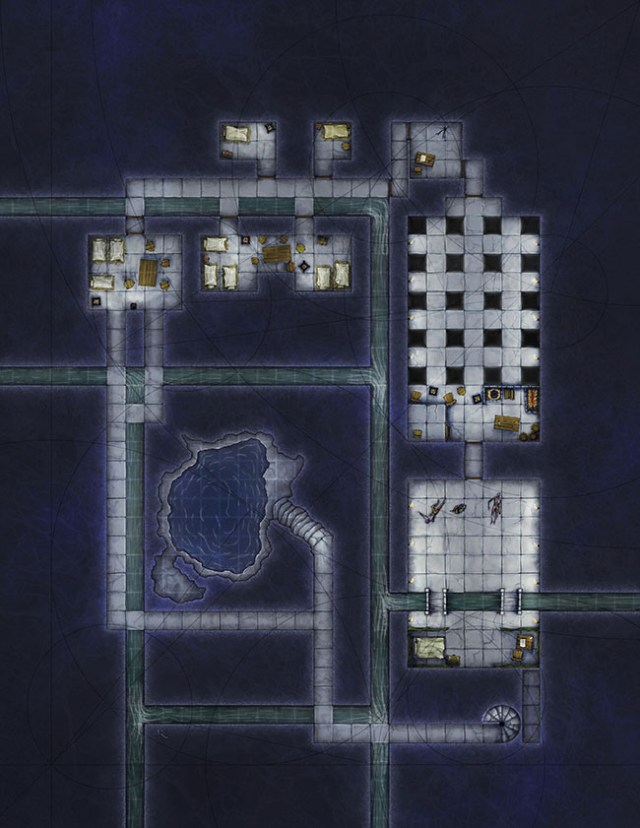 Temple dungeons fantasy battlemap for 4e d&d created for illusionary press
