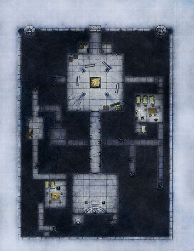 Upper level of an ancient temple battlemap for 4e d&d created for Illusionary Press