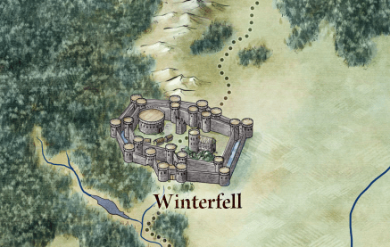 Winterfell from the map of Westeros and the seven kingdoms