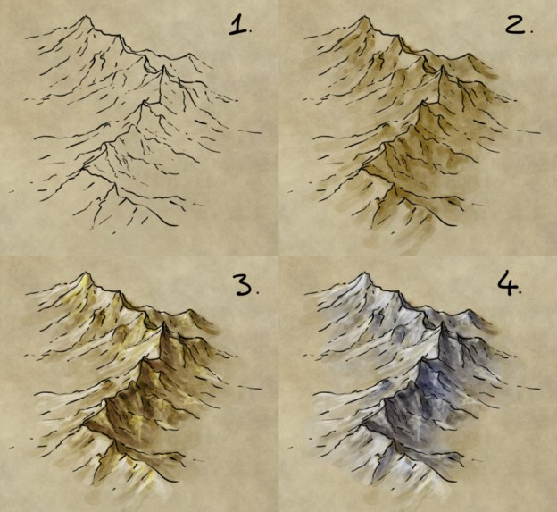 How to draw, shade, and colour a mountain range