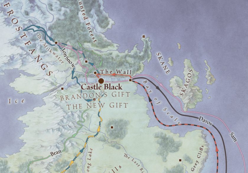 Where are the Starks? Clip from the Journey's map from Lands of Ice and Fire. © George RR Martin, used with permission