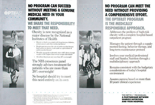 Brochure for a Sandoz weight-loss program Portfolio Print (Ad - what font should a resume be in