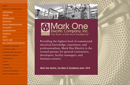 Interface concept for the Mark One Electric Company website - flyer samples