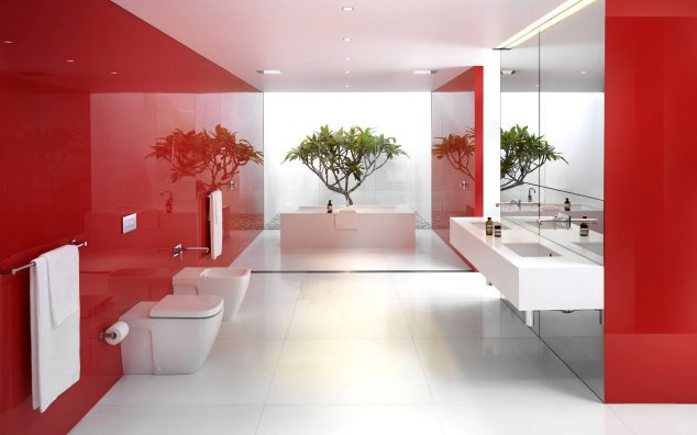 12 Red Accent Bathroom Ideas To Fall In Love With - red bathroom ideas