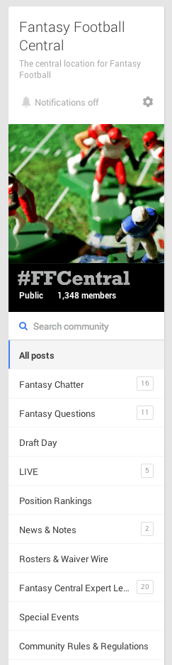 Fantasy Football Central Community Sidebar Screen