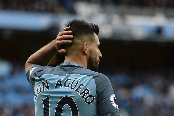 Manchester City's Argentinian striker Sergio Aguero reacts during the English Premier League football match between Manchester City and Southampton at the Etihad Stadium in Manchester, north west England, on October 23, 2016. / AFP / Oli SCARFF / RESTRICTED TO EDITORIAL USE. No use with unauthorized audio, video, data, fixture lists, club/league logos or 'live' services. Online in-match use limited to 75 images, no video emulation. No use in betting, games or single club/league/player publications. / (Photo credit should read OLI SCARFF/AFP/Getty Images)
