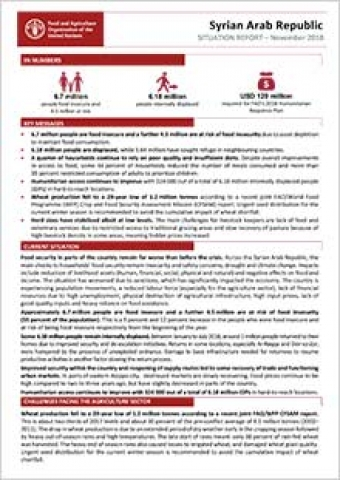 Syria Crisis - Situation report November 2018  FAO in Emergencies