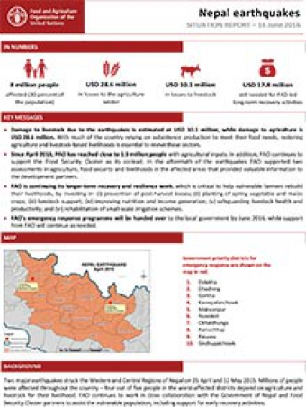Nepal earthquakes - Situation report 16 June 2016  FAO in Emergencies