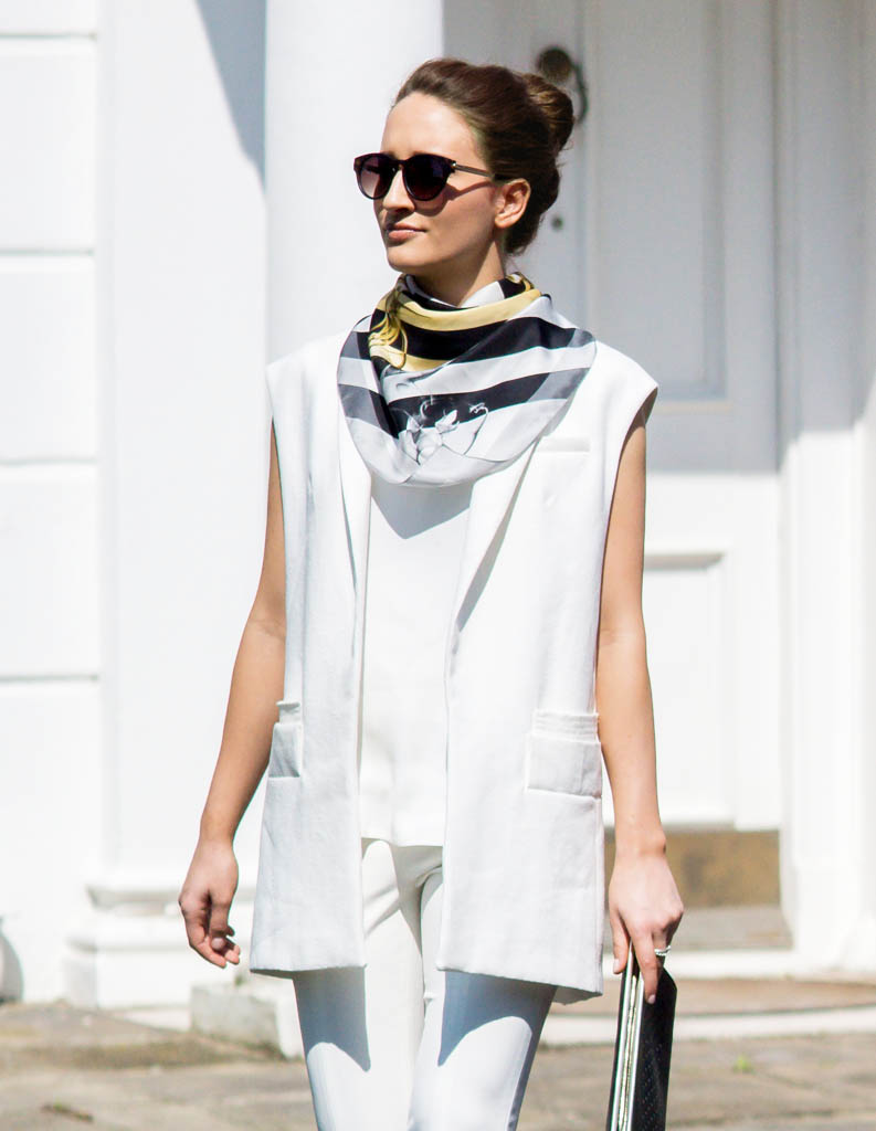 Printed Black and White Silk Square Scarf For Women