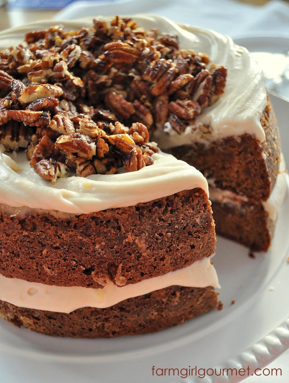 Caramelized Apple Spice Cake with Brie Icing from Farmgirl Gourmet