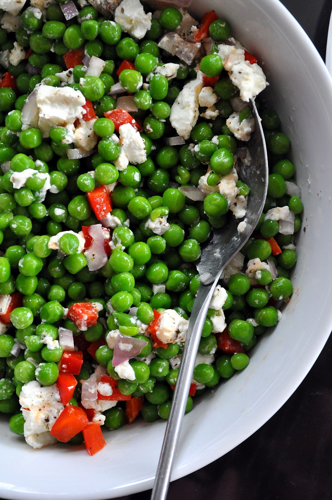 Spring Pea, Pepper & Goat Cheese Salad via farmgirlgourmet.com