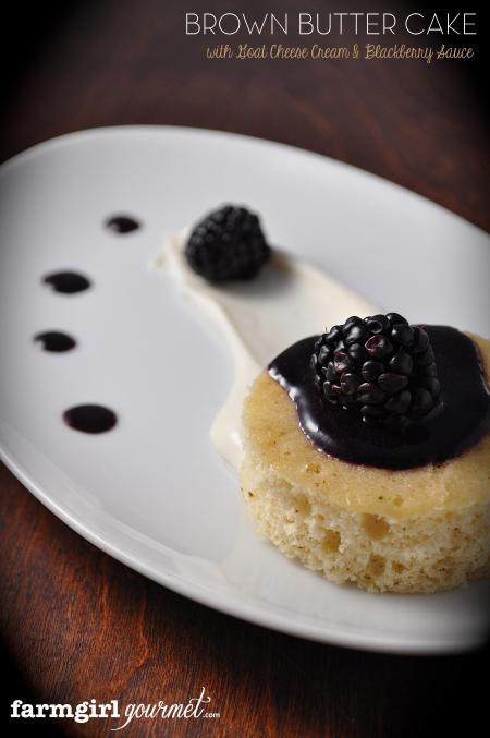 Brown Butter Cake with Goat Cheese Cream & Blackberry Sauce via FarmgirlGourmet.com