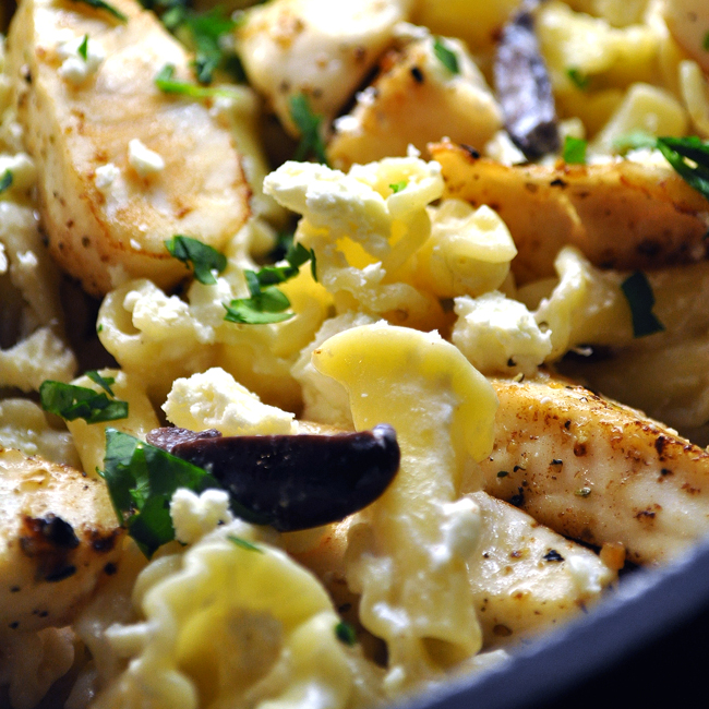 Pasta with Tilapia, Olives & Feta with Greek Yogurt Sauce