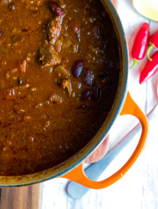 Meaty 4 Bean Chili recipe | farmgirlgourmet.com