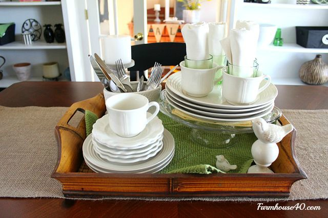 Table vignette in dining room