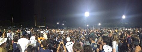 Students, Fans, and Families surround the Admirals after a huge win against Oak Ridge.